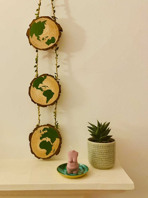 Wood slice wall hanger with hand painted 3 phase globe design