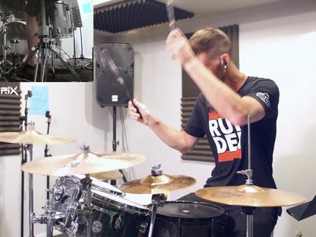 drumatrix on drums in studio 4