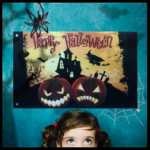 Cartel Halloween 2 Calabazas Horizontal