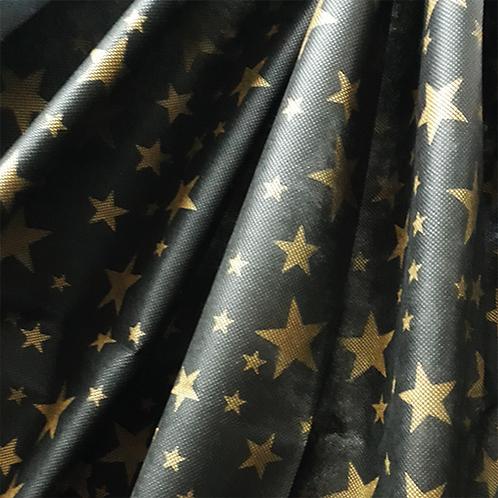 Tela Multiuso Estrella Dorado Fondo Negro - 1,20 mts. X 5 mts.