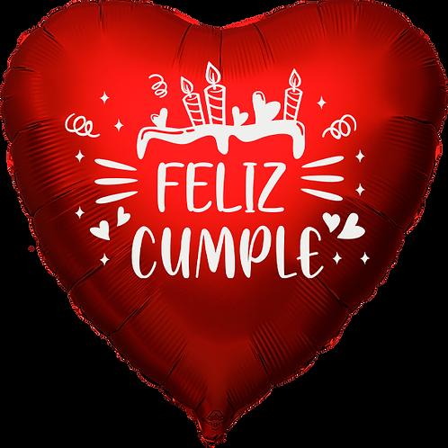 """Globo Corazón 18"""" - Feliz Cumple"""