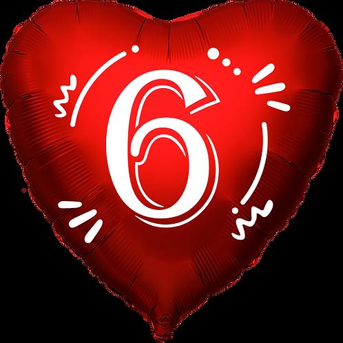"""Globo Corazón 18"""" - Número 6"""