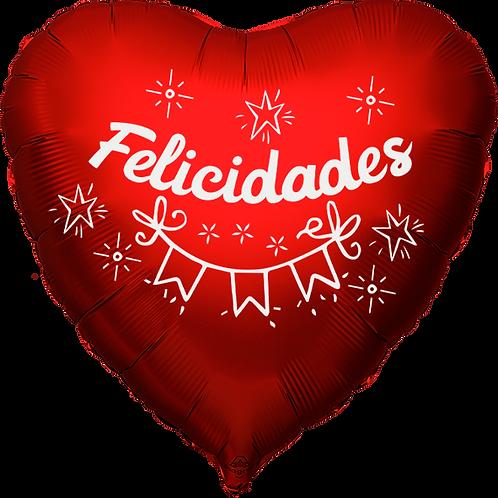 """Globo Corazón 18"""" - Felicidades"""
