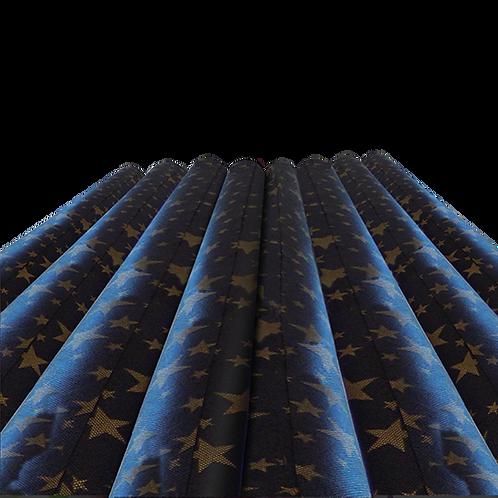 Rollo de Tela Estrella Dorada Fondo Negro - 60 gr. 1,20 mts. x 25 mts.