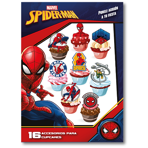 Accesorios para Cupcakes Spiderman x16