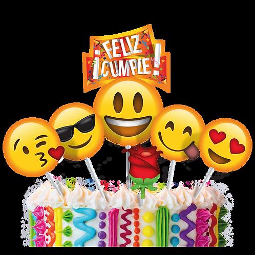 Accesorios para Torta Cumpleaños Emoticones Romanticos x6