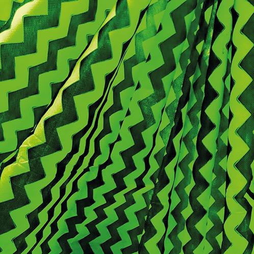 Tela Multiuso Verde Manzana Zigzag Negro - 1,20 mts. X 5 mts.