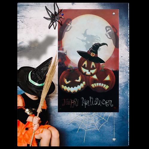 Cartel Halloween 3 Calabazas Vertical