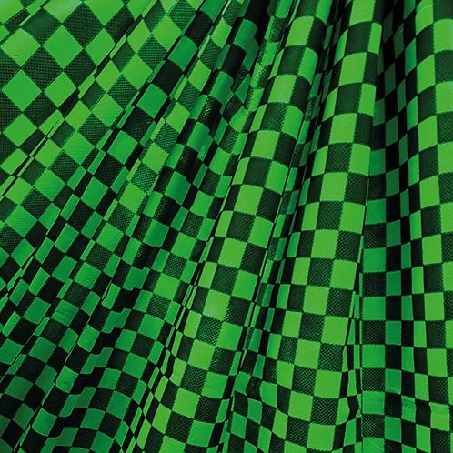 Tela Multiuso Verde Manzana Cuadritos Negros - 1,20 mts. X 5 mts.