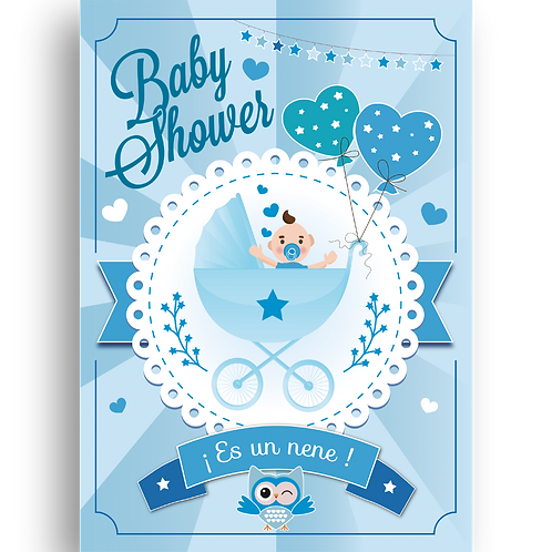 Cartel de Carton Baby Shower Nene