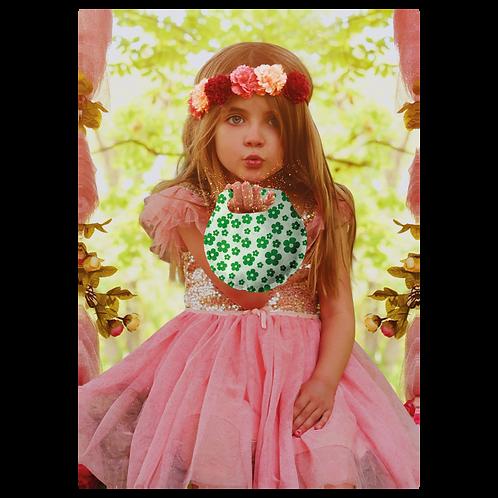 Bolsita Redonda Floreada Verde x10