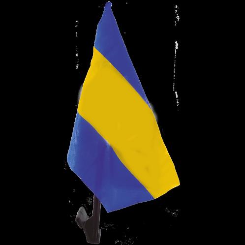 Bandera p/ Auto Azul y Amarillo con Mastil