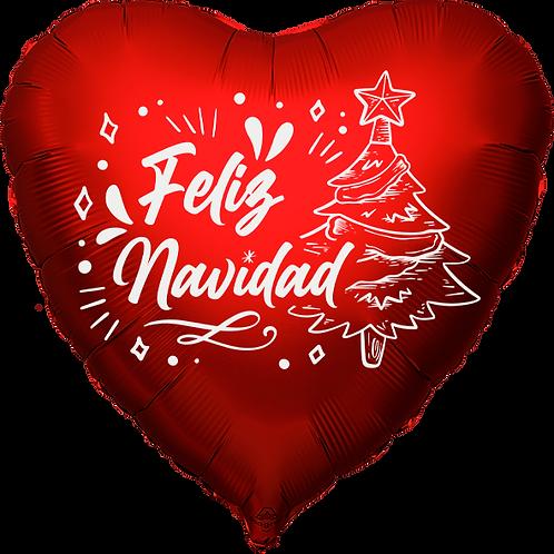 """Globo Corazón 18"""" - Feliz Navidad"""