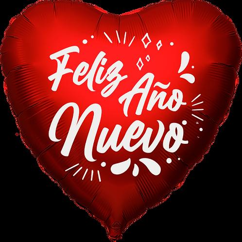 """Globo Corazón 18"""" - Feliz Año Nuevo"""