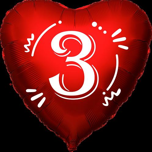 """Globo Corazón 18"""" - Número 3"""