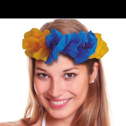 Vincha Hawaiana Azul y Amarillo x5