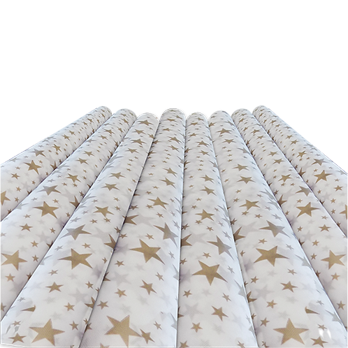 Rollo de Tela Estrella Dorada Fondo Blanco - 60 gr. 1,20 mts. x 25 mts.