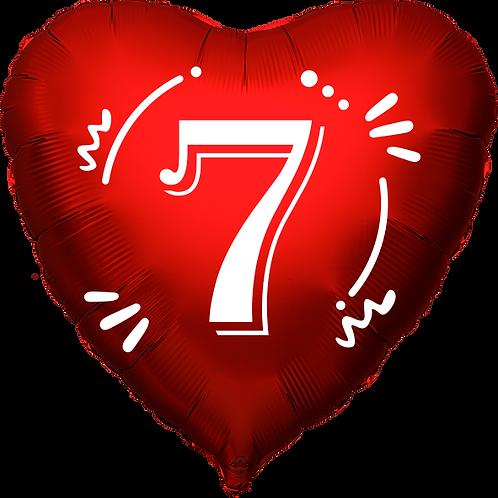 """Globo Corazón 18"""" - Número 7"""