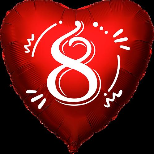 """Globo Corazón 18"""" - Número 8"""