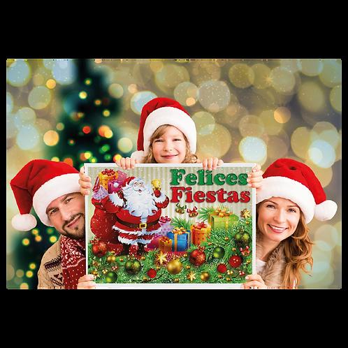 Cartel de Carton Felices Fiestas Papá Noel