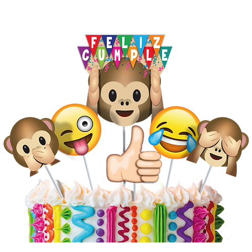 Accesorios para Torta Cumpleaños Emoticones Divertidos x6