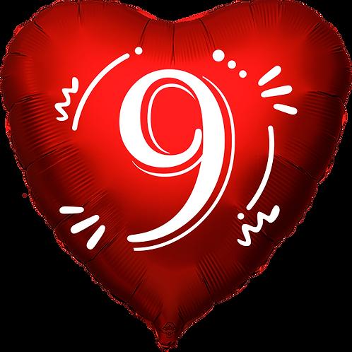 """Globo Corazón 18"""" - Número 9"""