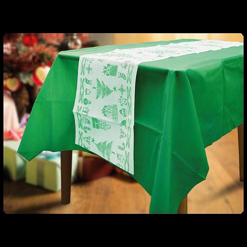 Mantel Verde con Camino Navideño Arbol Chico Verde