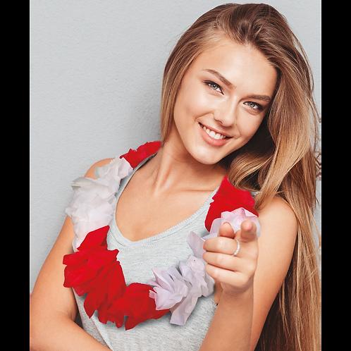 Collar Hawaiano Blanco y Rojo x3