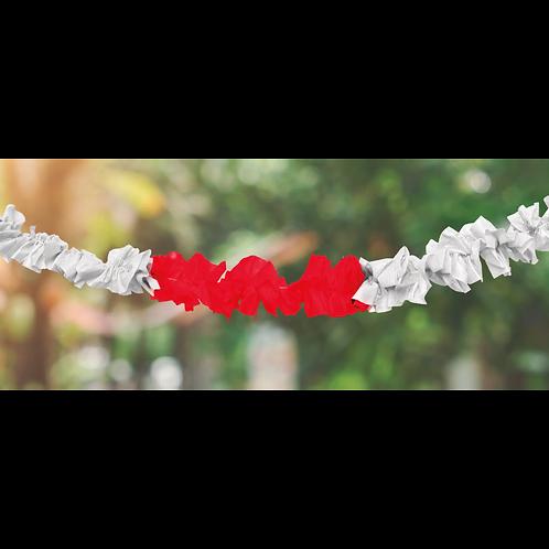 Guirnalda Hawaiana Rojo y Blanco 1 mts. x1
