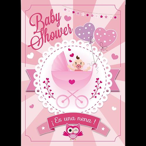 Cartel de Carton Baby Shower Nena