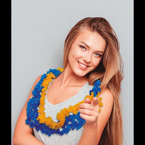 Collarcito Hawaiano Azul y Amarillo x10
