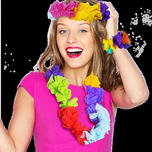 Combo Collar-Pulsera-Vincha Hawaiana Fantasía x1
