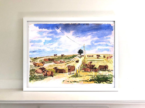Cows in the field (unframed)
