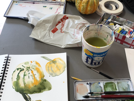 Watercolor demo during art class