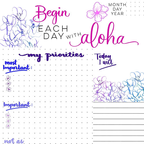 Begin Each Day with Aloha Planner