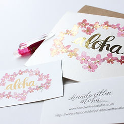 Selective foil notecards custom made by Handwritten Aloha with original artwork and brush lettering modern calligraphy