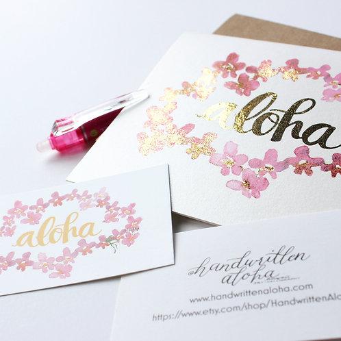 Handmade Aloha Orchid Lei Selective Foil Notecards