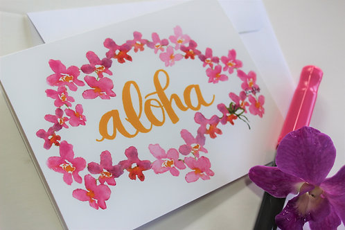 Aloha Orchid Lei Printed Notecards