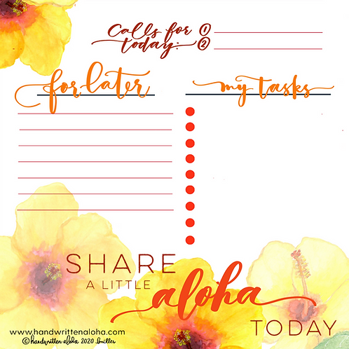 Yellow Hibiscus Share a Little Aloha Today Planner