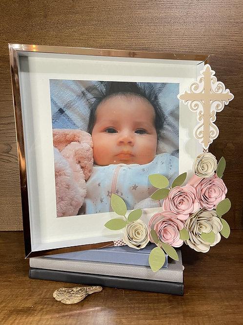 Frame with Paper Flower for Baptism