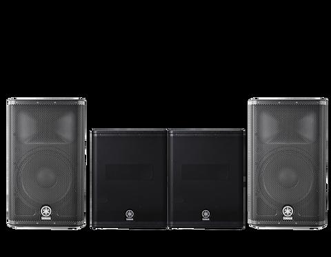 Yamaha 2600w : DXR12 x2 700W RMS+ DXS x2 2600W RMS