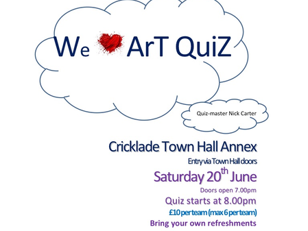 Art lovers...engage your brains! CAG Quiz night! Saturday 20th June