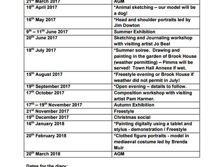 2017 - 2018 Cricklade Art Group Programme