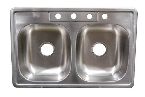 "Staineless Steel Kitchen Sink W/Faucet Ledge 6""Deep Bowl"