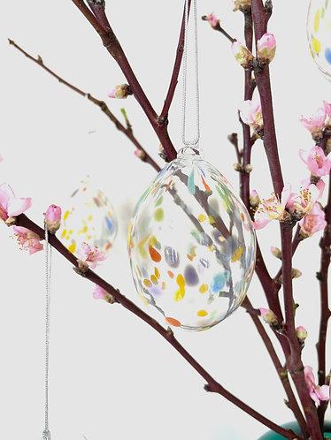 Blown Easter Eggs clear with spots / Blæste Påskeæg klar med prikker