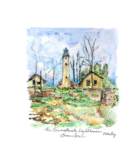 Watercolor of Evanston Lighthouse - Dennis O'Malley
