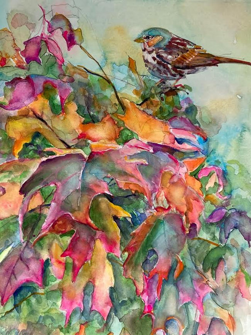 Fall Leaves and Bird