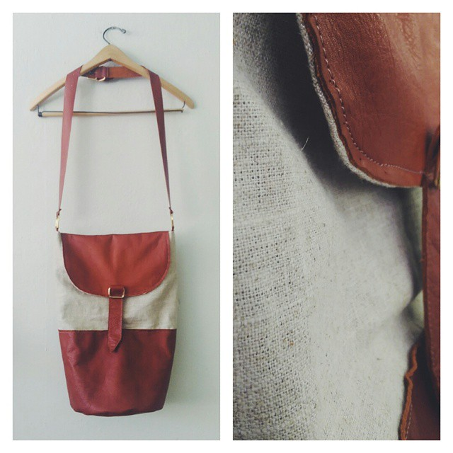 Leather and linen bag for _harmonyellie Xoxo..