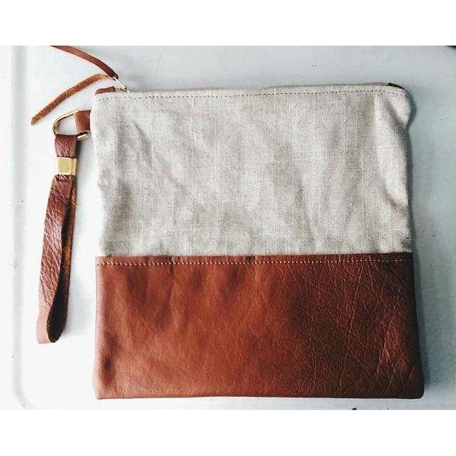 Leather and linen pouch I made today!!! For sale and super pretty! Xoxo