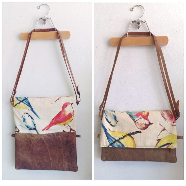 Transitional scraps purse I finished today! Repurposed leather and bird print